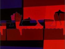 La cocina de Moni y Giuseppe 2008. Acrílico sobre lienzo 100 x 100 cm