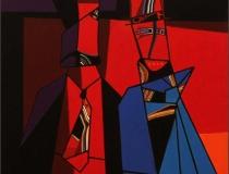 Burgueses satisfechos 2008. Acrílico sobre lienzo 60 x 60 cm