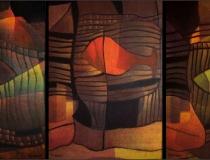 Sala: sueños Peces 2001. Mixta sobre lienzo 162 x 73 cm