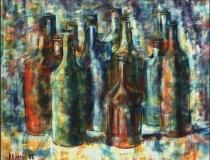 Botellas - 1986 - Óleo sobre lienzo