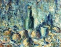 Botella y Frutas - 1986 - Óleo sobre lienzo